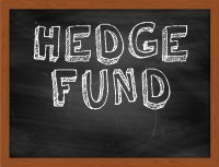HEDGE FUND handwritten chalk text on black chalkboard